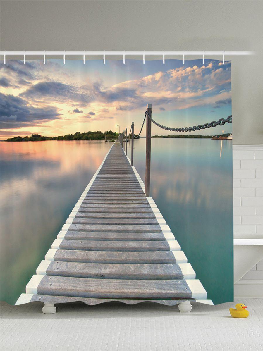 Штора для ванной комнаты Magic Lady Длинный мост на озере, 180 х 200 смшв_9150Штора Magic Lady Длинный мост на озере, изготовленная из высококачественного сатена (полиэстер 100%), отлично дополнит любой интерьер ванной комнаты. При изготовлении используются специальные гипоаллергенные чернила для прямой печати по ткани, безопасные для человека. В комплекте: 1 штора, 12 крючков. Обращаем ваше внимание, фактический цвет изделия может незначительно отличаться от представленного на фото.