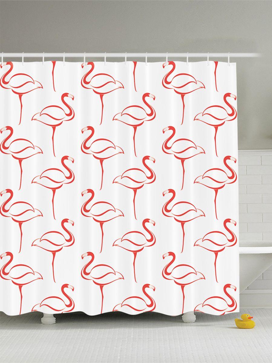 Штора для ванной комнаты Magic Lady Одинокие розовые фламинго, 180 х 200 смшв_9451Штора Magic Lady Одинокие розовые фламинго, изготовленная из высококачественного сатена (полиэстер 100%), отлично дополнит любой интерьер ванной комнаты. При изготовлении используются специальные гипоаллергенные чернила для прямой печати по ткани, безопасные для человека. В комплекте: 1 штора, 12 крючков. Обращаем ваше внимание, фактический цвет изделия может незначительно отличаться от представленного на фото.