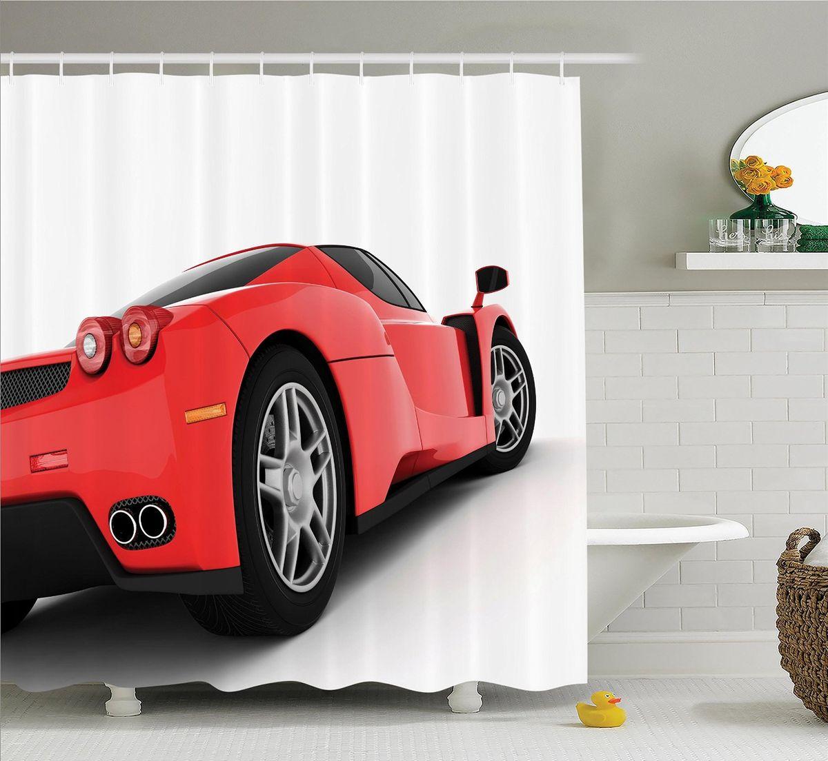 Штора для ванной комнаты Magic Lady Красная машина, 180 х 200 смшв_9924Штора Magic Lady Красная машина, изготовленная из высококачественного сатена (полиэстер 100%), отлично дополнит любой интерьер ванной комнаты. При изготовлении используются специальные гипоаллергенные чернила для прямой печати по ткани, безопасные для человека. В комплекте: 1 штора, 12 крючков. Обращаем ваше внимание, фактический цвет изделия может незначительно отличаться от представленного на фото.