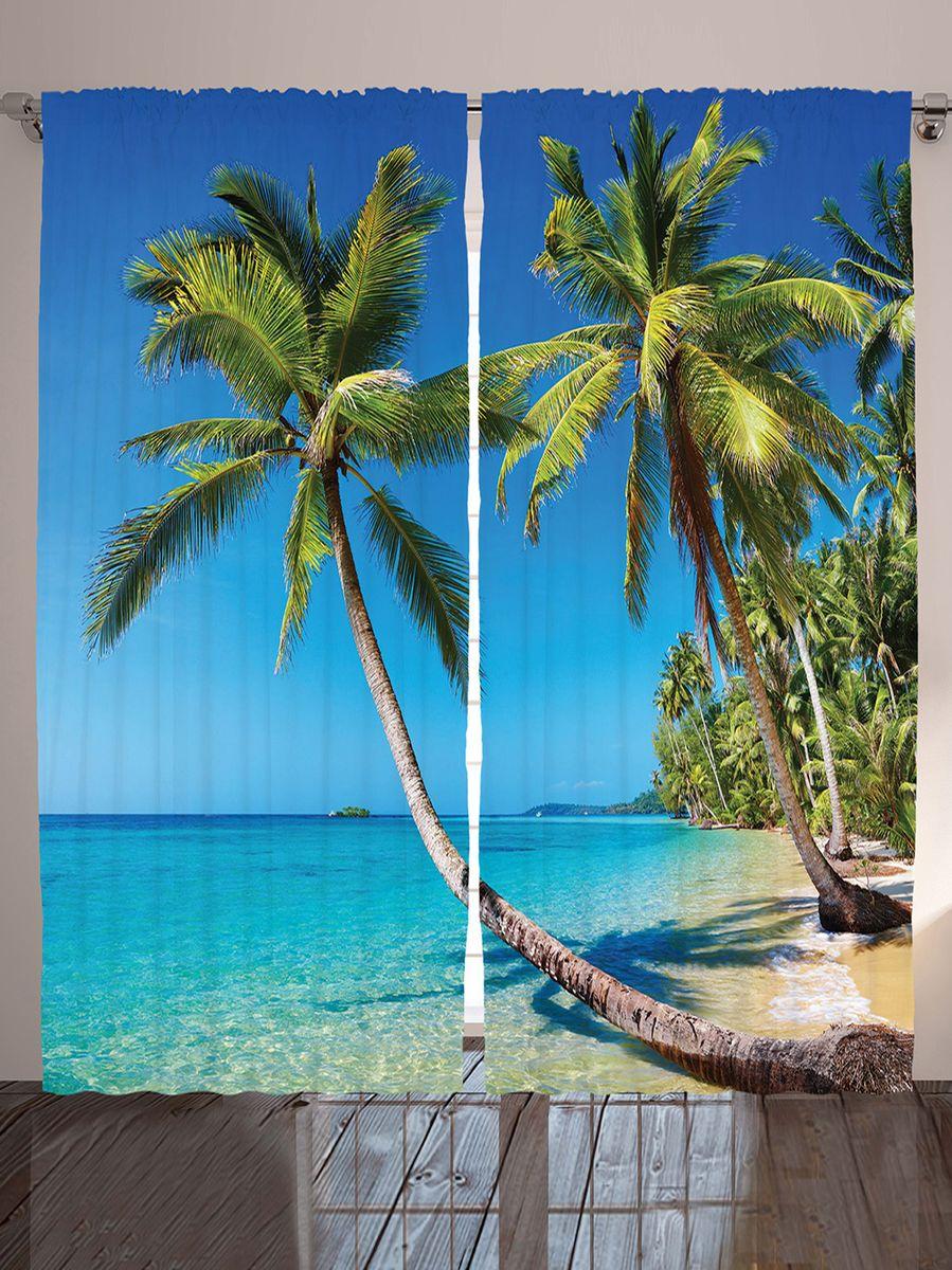 Комплект фотоштор Magic Lady Пальмы над водой, на ленте, высота 265 смшсг_10065Фотошторы Magic Lady Пальмы над водой, изготовленные из высококачественного сатена (полиэстер 100%), отлично дополнят любой интерьер. При изготовлении используются специальные гипоаллергенные чернила для прямой печати по ткани, безопасные для человека и животных. Крепление на карниз при помощи шторной ленты на крючки. В комплекте 2 шторы, 50 крючков. Ширина одного полотна: 145 см. Высота штор: 265 см. Изображение на мониторе может немного отличаться от реального.