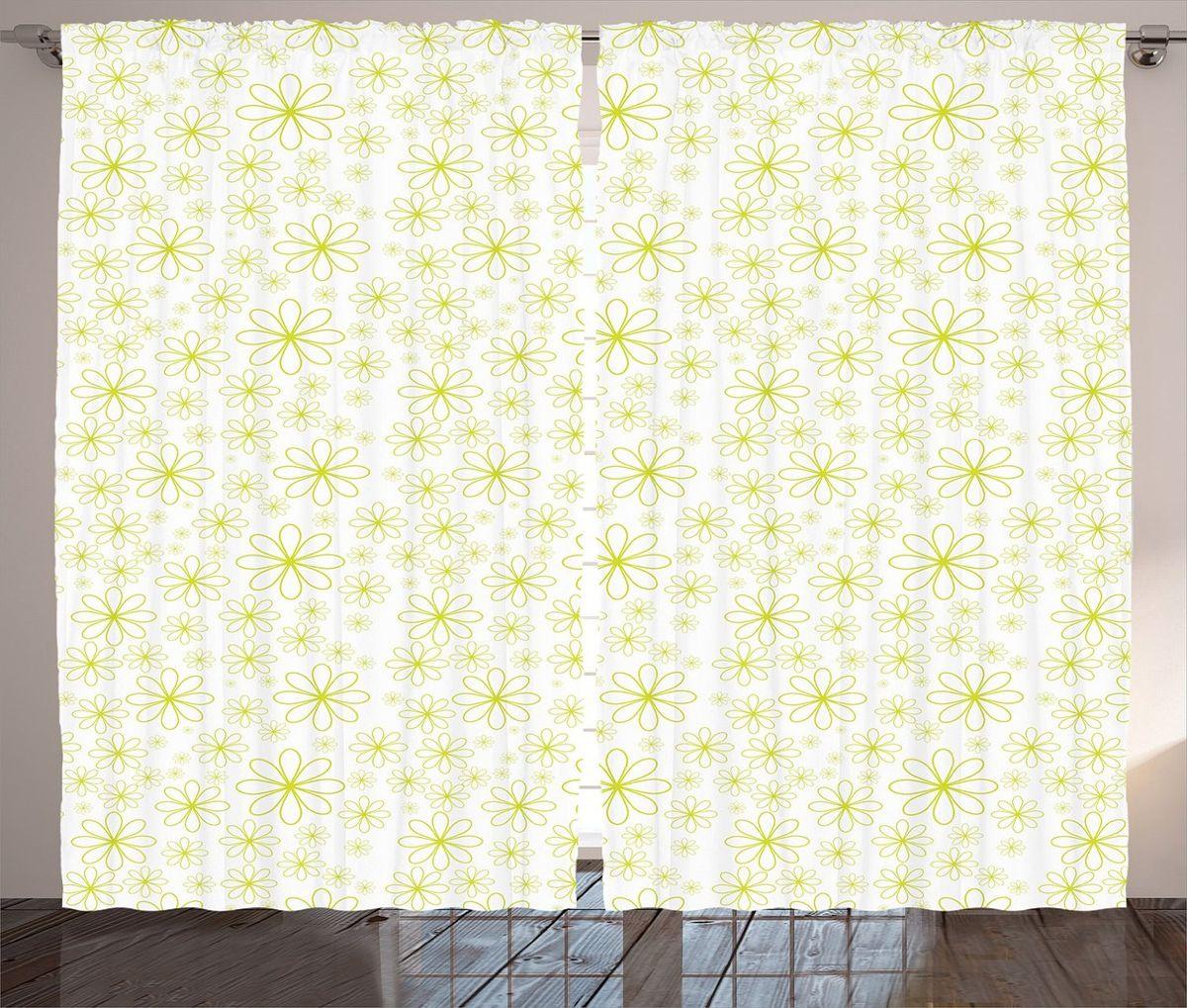 Комплект фотоштор Magic Lady Зеленые цветы, на ленте, высота 265 смшсг_12352Фотошторы Magic Lady Зеленые цветы, изготовленные из высококачественного сатена (полиэстер 100%), отлично дополнят любой интерьер. При изготовлении используются специальные гипоаллергенные чернила для прямой печати по ткани, безопасные для человека и животных. Крепление на карниз при помощи шторной ленты на крючки. В комплекте 2 шторы, 50 крючков. Ширина одного полотна: 145 см. Высота штор: 265 см. Изображение на мониторе может немного отличаться от реального.