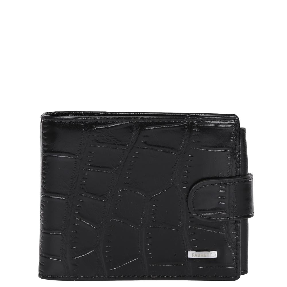Кошелек мужской Fabretti, цвет: черный. 36003/1-black coccoA16-11154_711Классический мужской кошелек от итальянского бренда Fabretti выполнен из натуральной кожи с тиснением под рептилию. Насыщенный черный цвет и фурнитура, выполненная в серебряном цвете, превратили аксессуар в модное изделие, которое подчеркнет ваше уникальное чувство стиля. Внутри модели имеется 3 отделения для купюр, одно из которых закрывается на молнию. Вы с легкостью сможете расположить 5 дисконтных и кредитных карточек, три фотографии, а также всю мелочь с помощью удобного кармана. Кошелек закрывается на прочную застежку.