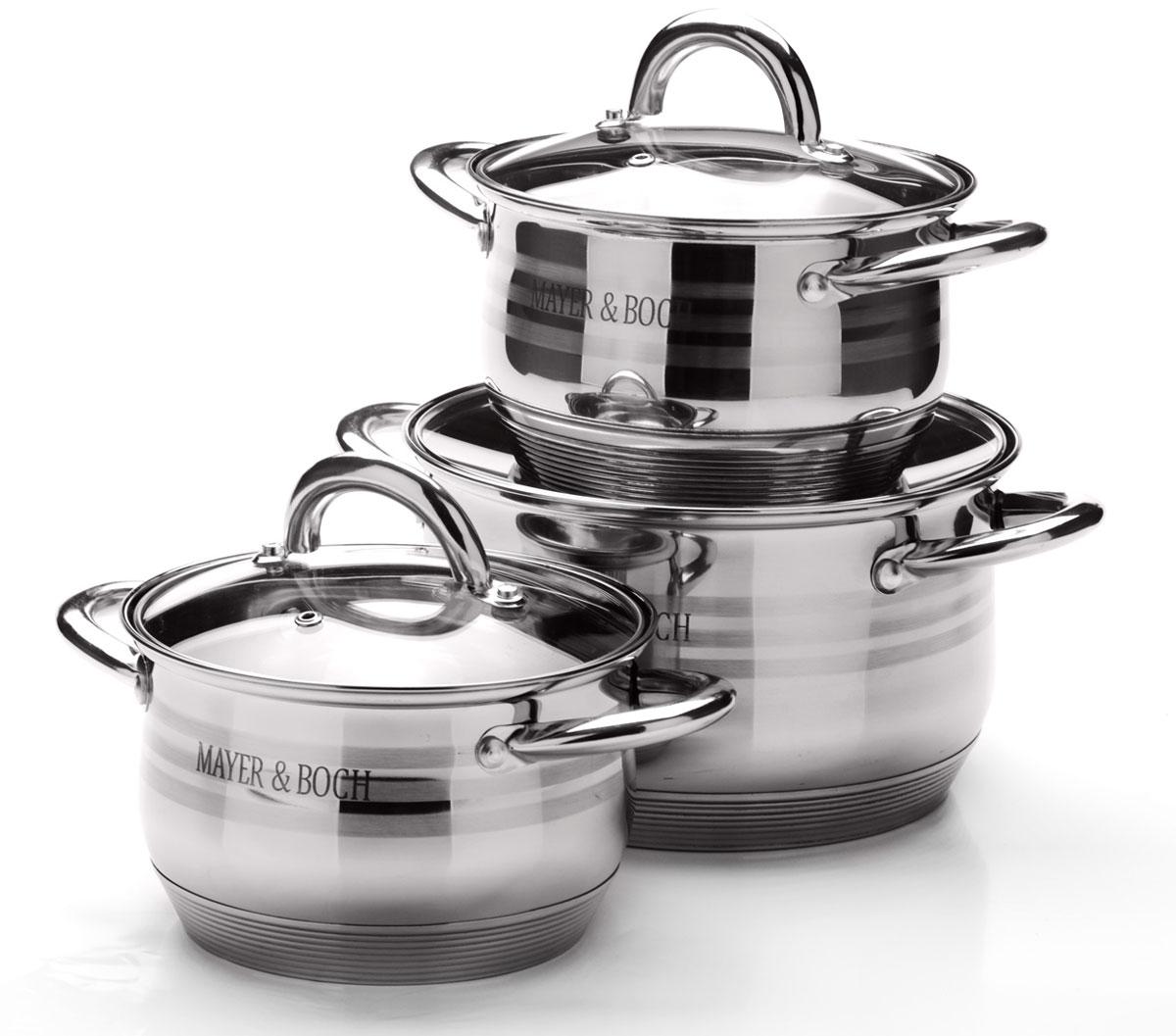 Набор посуды Mayer & Boch, 6 предметов. 25668CM000001326Набор посуды станет отличным дополнением к набору кухонной утвари. С его приобретением приготовление ваших любимых блюд перейдет на качественно новый уровень и вы сможете воплотить в жизнь любые кулинарные идеи. В комплект входят 6 предметов: 3 кастрюли (объем 2,1/ 2,1/ 3,9), 3 крышки. Набор многофункционален и удобен в использовании, подойдет для варки супов, приготовления блюд из мяса и рыбы, гарниров, соусов т. д.