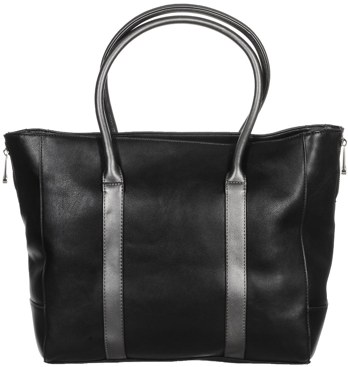 Сумка женская Renee Kler, цвет: черный, серый. RK121-01859425-002Изысканная женская сумка Renee Kler, изготовленная из искусственной кожи, оформлена декоративными молниями по бокам. Изделие имеет одно основное отделение и закрывается на удобную застежку-молнию. Внутри расположены два накладных открытых кармана, прорезной карман на застежке-молнии и накладной карман с отделением на застежке-молнии. Снаружи, на задней стенке находится прорезной карман на застежке-молнии. Сумка оснащена двумя удобными ручками.Роскошная сумка внесет элегантные нотки в ваш образ и подчеркнет ваше отменное чувство стиля.
