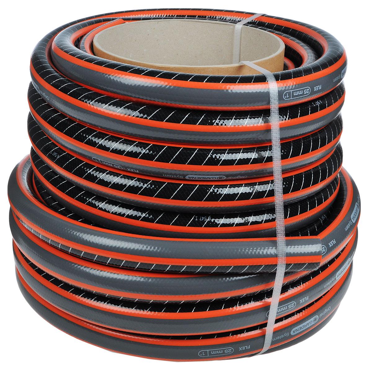 Шланг Gardena Flex, диаметр 25 мм, длина 25 м18057-22.000.00Шланг Gardena Flex c ребристым профилем Power Grip для идеального соединения с коннектором базовой системы полива. Благодаря спиралевидному текстильному армированию, усиленному углеродными волокнами, шланг стал устойчивее к высокому давлению и сохранению формы. Шланг не содержит фталаты и тяжелые металлы и невосприимчив к УФ-излучению. Толстые стенки шланга обеспечивают длительный срок службы и безопасность использования. Длина шланга: 25 м. Диаметр шланга: 25 мм. Давление разрыва: 25 бар.