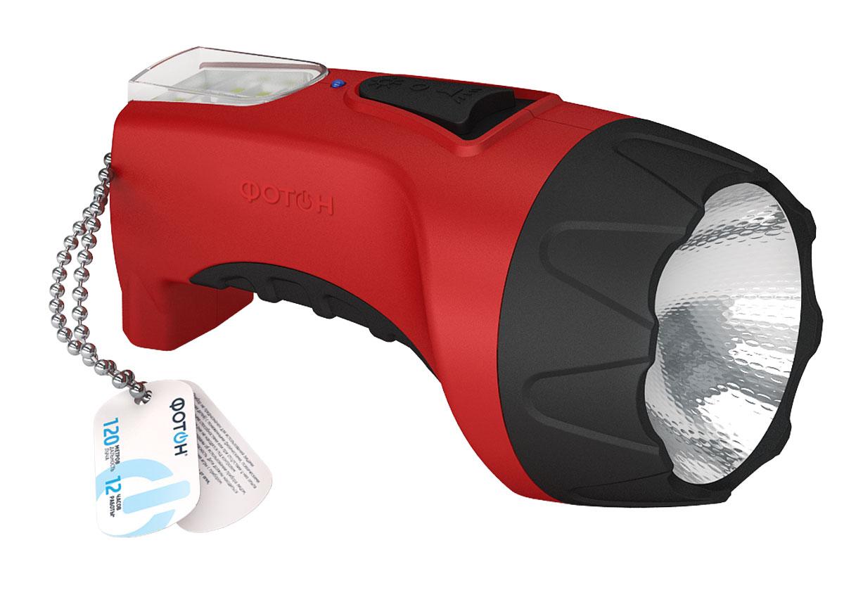 Фонарь светодиодный Фотон РМ-1500 Red (1W), аккумуляторный22344Материал корпуса – пластик Покрытие элементов фонаря – Soft-touch Источник света – светодиод 1Вт Панель рассеянного света – 8 SMD-диодов Время работы на одном заряде - д 12ч. Питание - аккумулятор свинцово-кислотный 4V*1A Выключатель - ползунковый, боковой