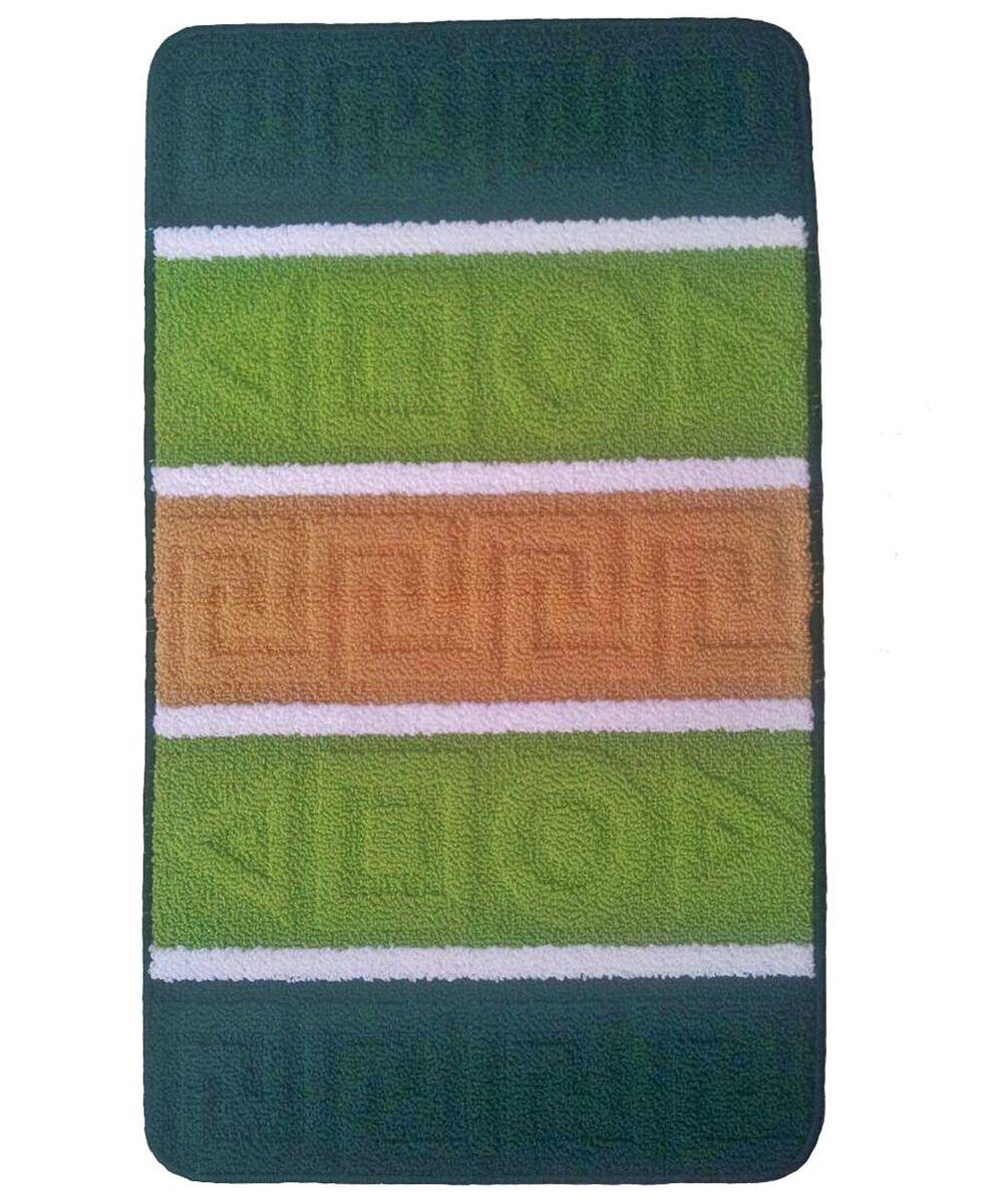 """Коврик для ванной """"Kamalak Tekstil"""", цвет: зеленый, 60 x 100 см. УКВ-1006"""