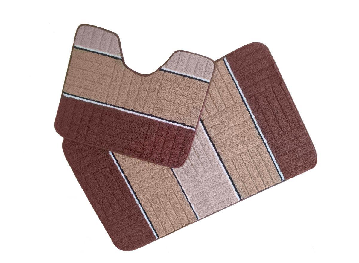 Набор ковриков для ванной комнаты Kamalak Tekstil, цвет: коричневый, 2 шт. УКВ-1018УКВ-1018Ковры-паласы выполнены из полипропилена. Ковры обладают хорошими показателями теплостойкости и шумоизоляции. Являются гиппоалергенными. За счет невысокого ворса ковры легко чистить. Вам придется по душе широкая гамма цветов и возможность гармонично оформить интерьер. Практичный и устойчивый к износу ворс - от постоянного хождения не истирается, не накапливает статическое электричество. Структура волокна в полипропиленовых моделях гладкая, поэтому грязь не может выесться, на ворсе она скапливается с трудом. Полипропилен не впитывает влагу, отталкивает водянистые пятна. Уход: Самый простой способ избавить изделие от грязи – пропылесосить его с обеих сторон (лицевой и изнаночной). Влажная уборка с применением шампуней и моющих средств не противопоказана. Если шерсти и шёлку универсальные чистящие составы не подходят, то для синтетики они придутся в самый раз. Хранить их нужно рулоном, не складывая «салфеткой». При надлежащем уходе синтетический ковёр прослужит долго, не утратив ни...