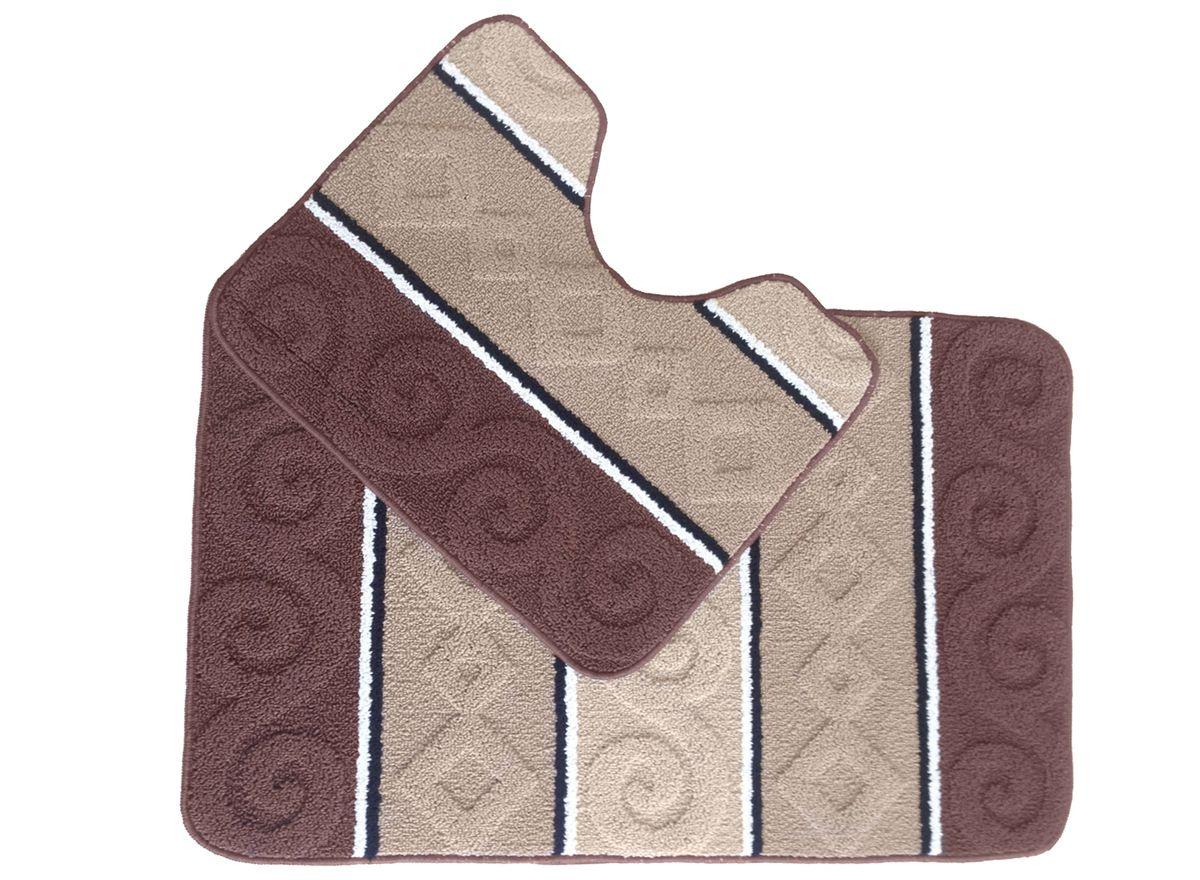 Набор ковриков для ванной комнаты Kamalak Tekstil, цвет: коричневый, 2 шт. УКВ-103225051 7_желтыйКовры-паласы выполнены из полипропилена. Ковры обладают хорошими показателями теплостойкости и шумоизоляции. Являются гиппоалергенными. За счет невысокого ворса ковры легко чистить. Вам придется по душе широкая гамма цветов и возможность гармонично оформить интерьер. Практичный и устойчивый к износу ворс - от постоянного хождения не истирается, не накапливает статическое электричество. Структура волокна в полипропиленовых моделях гладкая, поэтому грязь не может выесться, на ворсе она скапливается с трудом. Полипропилен не впитывает влагу, отталкивает водянистые пятна. Уход: Самый простой способ избавить изделие от грязи – пропылесосить его с обеих сторон (лицевой и изнаночной).Влажная уборка с применением шампуней и моющих средств не противопоказана. Если шерсти и шёлку универсальные чистящие составы не подходят, то для синтетики они придутся в самый раз.Хранить их нужно рулоном, не складывая «салфеткой».При надлежащем уходе синтетический ковёр прослужит долго, не утратив ни яркости узора, ни блеска ворса, ни его упругости.