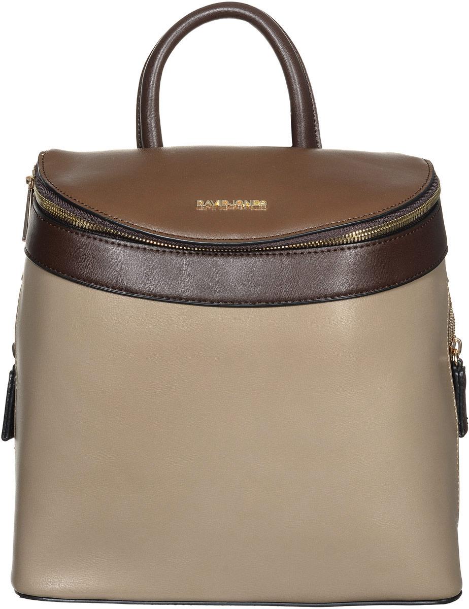 Рюкзак женский David Jones, цвет: бежевый, коричневый, темно-коричневый. СМ3235СМ3235 D/CAMELСтильный женский рюкзак David Jones выполнен из искусственной кожи и текстиля. Изделие имеет одно основное отделение, закрывающееся на застежку-молнию. Внутри изделия расположены прорезной карман на застежке-молнии и два накладных открытых кармана. Снаружи, по бокам и на задней стенке находятся прорезные карманы на застежках-молниях. Рюкзак оснащен удобными лямками регулируемой длины и ручкой для переноски в руке. Основание изделия защищено от повреждений металлическими ножками. Практичный и стильный аксессуар позволит вам завершить свой образ и быть неотразимой.