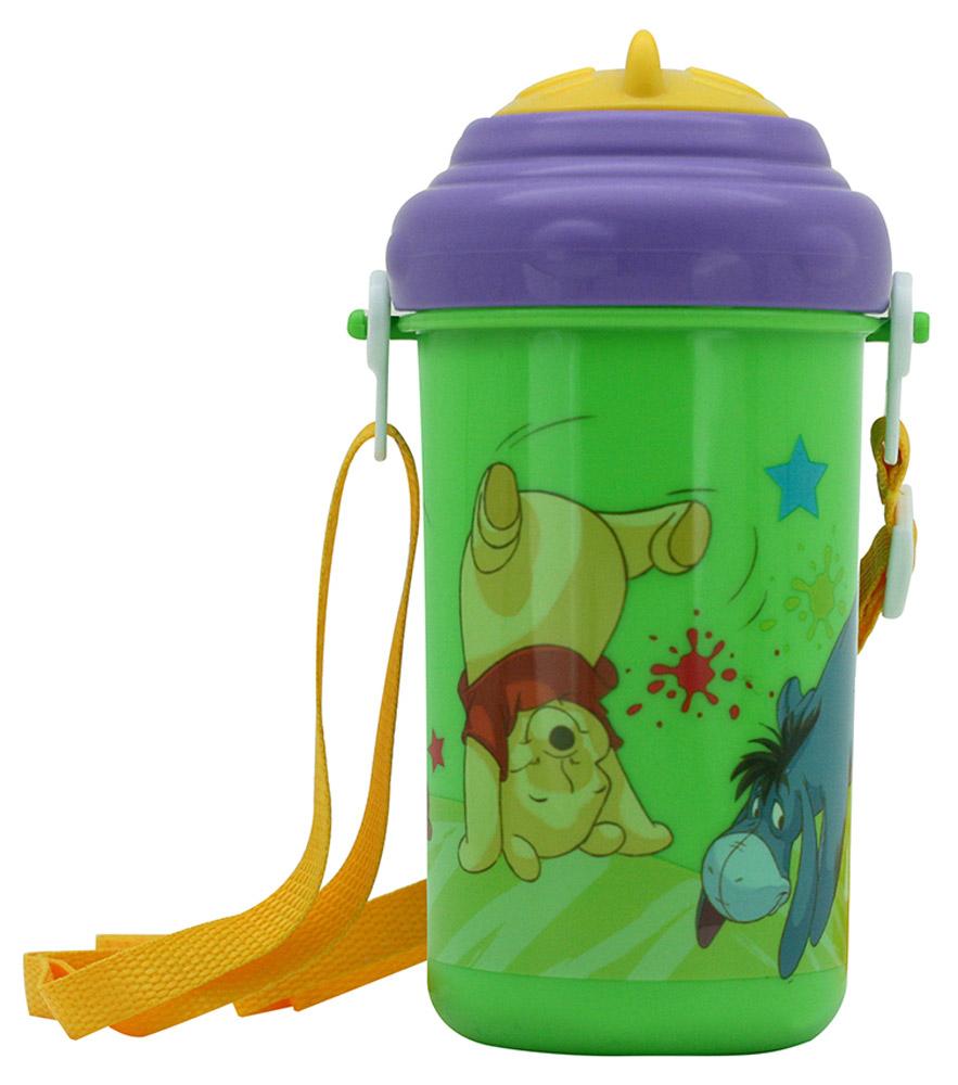 Lubby Поильник-непроливайка Медвежонок Винни с трубочкой от 6 месяцев цвет зеленый фиолетовый 360 мл