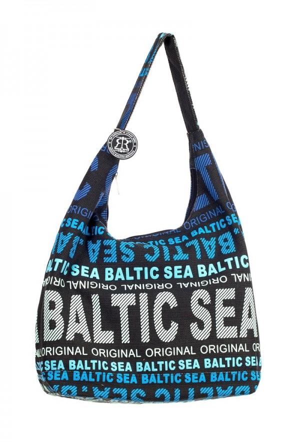 Сумка женская Robin Ruth Baltic Sea, цвет: черный, голубой, белый. BG2648-A73298с-1Женская сумка Robin Ruth Baltic Sea выполнена из канваса и оформлена контрастным принтом с надписями. Изделие содержит одно основное отделение, закрывающееся на застежку-молнию. Внутри расположены вшитый карман на молнии и накладной кармашек для телефона. Сумка оснащена практичной лямкой, которая дополнена брелоком на цепочке. Стильная сумка позволит вам подчеркнуть свою индивидуальность, а также сделает ваш образ завершенным.