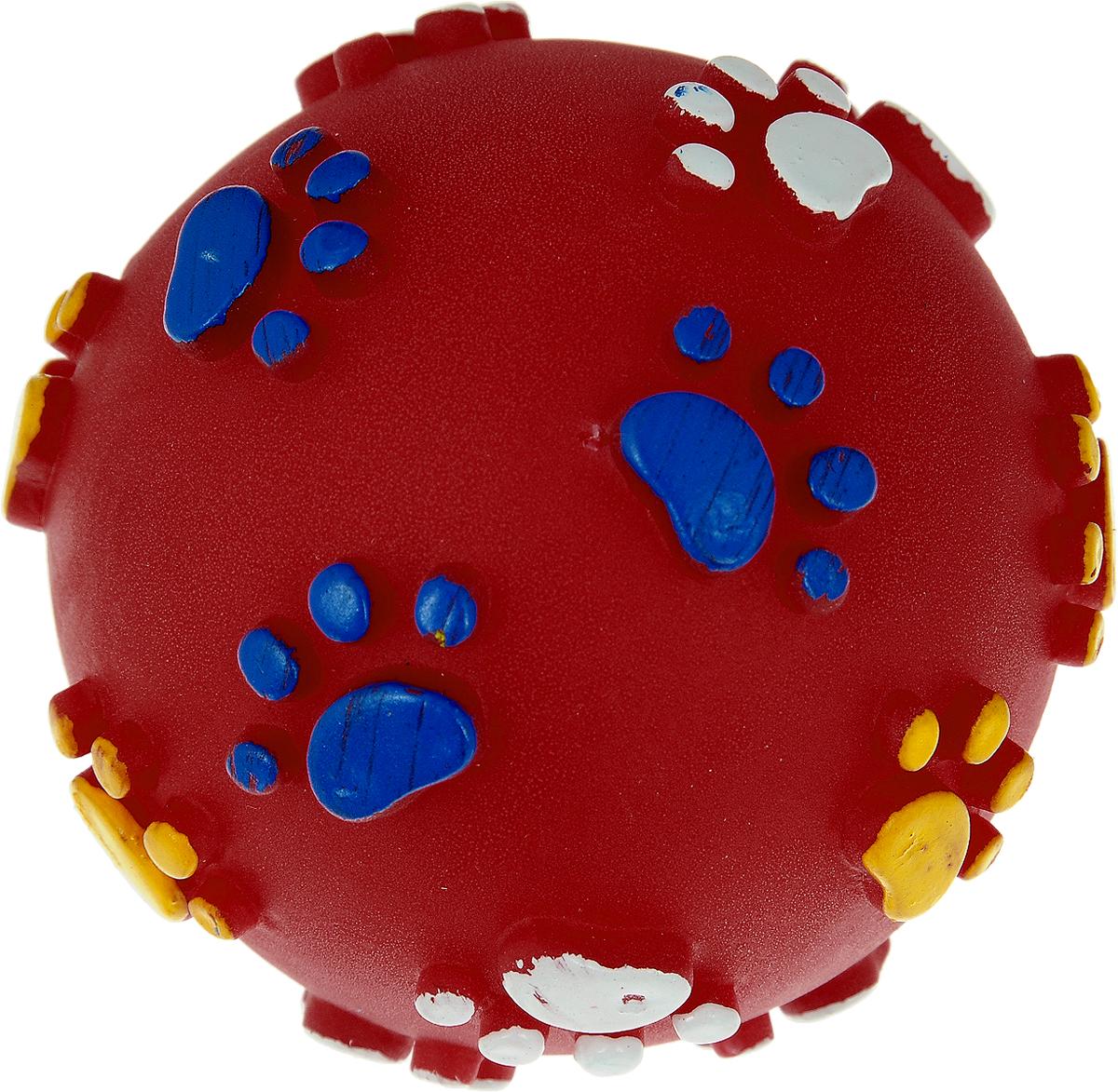 Игрушка для собак Каскад Мяч. Лапки, цвет: красный, диаметр 6 см0120710Игрушка для собак Каскад Мяч. Лапки изготовлена из мягкой и прочной безопасной резины, устойчивой к разгрызанию. Игрушка снабжена пищалкой и украшена рельефом в виде разноцветных лапок. Изделие отличается прочностью и в то же время гибкостью и эластичностью. Необычная и забавная игрушка прекрасно подойдет для игр вашей собаки.
