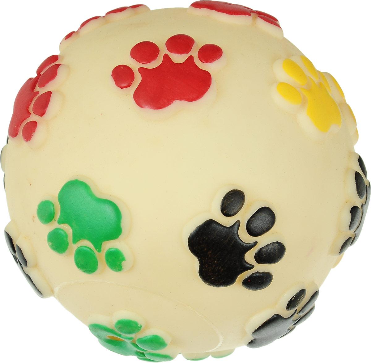 """Игрушка для животных Каскад """"Мяч. Лапки"""", цвет: молочный, черный, зеленый, с пищалкой, диаметр 12,5 см 27754622_молочный"""