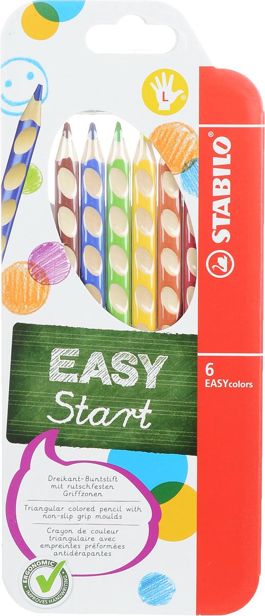 Stabilo Набор цветных карандашей Easycolors для левшей 6 шт610842Преимущества карандашей Stabilo Easycolors. Специальные углубления на корпусе карандаша подсказывают ребенку как располагать большой и указательный пальцы, прививая первоначальный навык правильно держать пишущий инструмент. Расположение углублений по всей длине корпуса обеспечивает правильное удержание карандаша ребенком при письме и рисовании даже после заточки карандаша. С течением времени навык автоматически закрепляется в памяти ребенка, позволяя ему быстрее и легче адаптироваться к процессу обучения письму, освоить правильную технику письма и сделать письмо красивым и быстрым.Создают максимальный комфорт для ребенка - трехгранная форма карандаша соответствует естественному захвату руки, уменьшая мышечные усилия, необходимые для его удержания, - ребенок может рисовать длительное время без ощущения усталости. Утолщенная форма корпуса облегчает удержание карандашей детьми с недостаточно развитой мелкой моторикой руки. Карандаши разработаны с учетом особенностей строения руки ребенка и имеют две версии: для правшей и для левшей, обеспечивая им одинаково комфортное письмо. Рекомендуются в начале обучения рисованию и письму.Мягкий грифель легко рисует на бумаге, не царапая ее и не крошась, и оставляет яркий след без каких-либо усилий. Утолщенный грифель диаметром 4,5 мм не нуждается в постоянном затачивании, так как имеет повышенную стойкость к поломкам. Каждый карандаш можно подписать. Карандаши являются обладателями Европейского сертификата качества (маркировка на корпусе СЕ), что подтверждает их высочайшее качество и безопасность для здоровья.