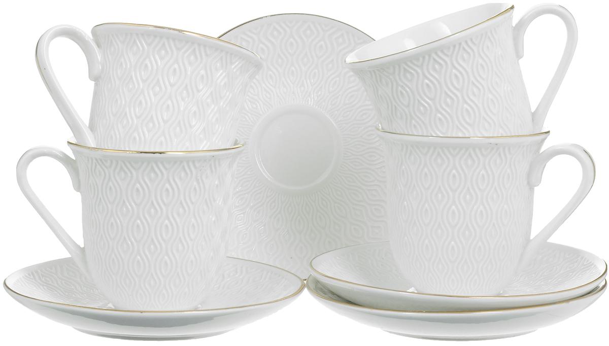 Набор чайный Loraine, 8 предметов. 2577625776Чайный набор Loraine состоит из 4 чашек и 4 блюдец, выполненных из высококачественного костяного фарфора. Изделия прекрасно дополнят сервировку стола к чаепитию. Благодаря изысканному дизайну и качеству исполнения такой набор станет замечательным подарком для ваших друзей и близких. Набор упакован в подарочную коробку, задрапированную белой атласной тканью. Объем чашки: 240 мл. Диаметр чашки по верхнему краю: 8,2 см. Высота чашки: 8 см. Диаметр блюдца: 14,2 см. Высота блюдца: 2 см.