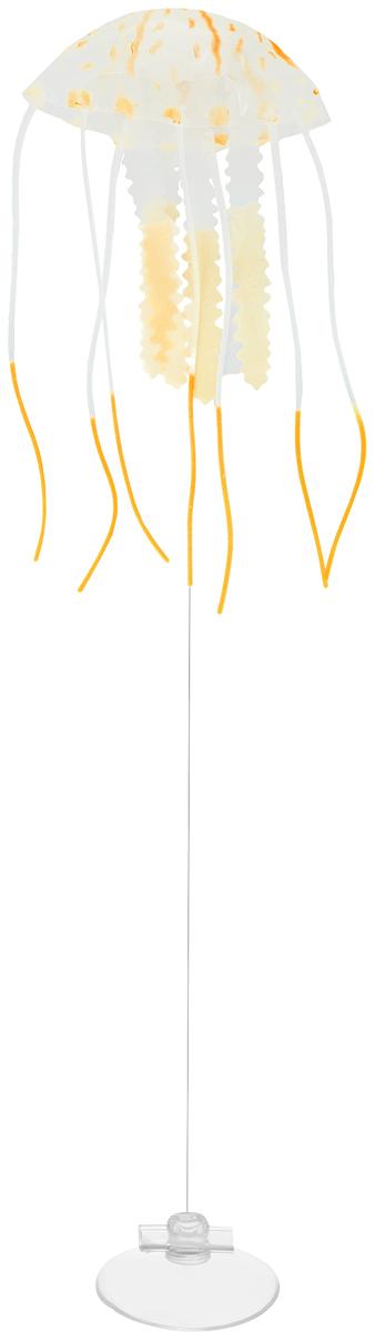 Декорация для аквариума Barbus Медуза, малая, силиконовая, цвет: оранжевый, 5 х 5 х 15 смDecor 076Декорация Barbus Медуза, выполненная из высококачественного силикона, станет оригинальным украшением для вашего аквариума. Изделие отличается реалистичным исполнением, в воде создается имитация настоящей медузы. Декорация абсолютно безопасна, нейтральна к водному балансу, устойчива к истиранию краски, не токсична, подходит как для пресноводного, так и для морского аквариума. Крепится при помощи присоски. Такая декорация наиболее подвижна в постоянном потоке воды. Для красивого светящегося эффекта рекомендуется использование актинического освещения. Декорация Barbus Медуза станет оригинальным украшением для внесения загадочности в интерьер вашего аквариума.