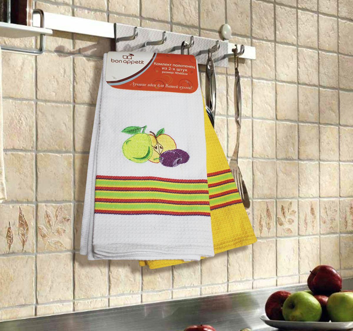 Набор кухонных полотенец Bon Appetit Fruits, цвет: желтый, 2 шт64859Кухонные Полотенца Bon Appetit - В помощь хозяйке на кухне!!! Кухонные Полотенца Bon Appetit идеально дополнят интерьер вашей кухни и создадут атмосферу уюта и комфорта. Полотенца выполнены из натурального 100% Хлопка, поэтому являются экологически чистыми. Качество материала гарантирует безопасность не только взрослых, но и самых маленьких членов семьи. Bon Appetit – Интерьер и Практичность Современной Кухни!