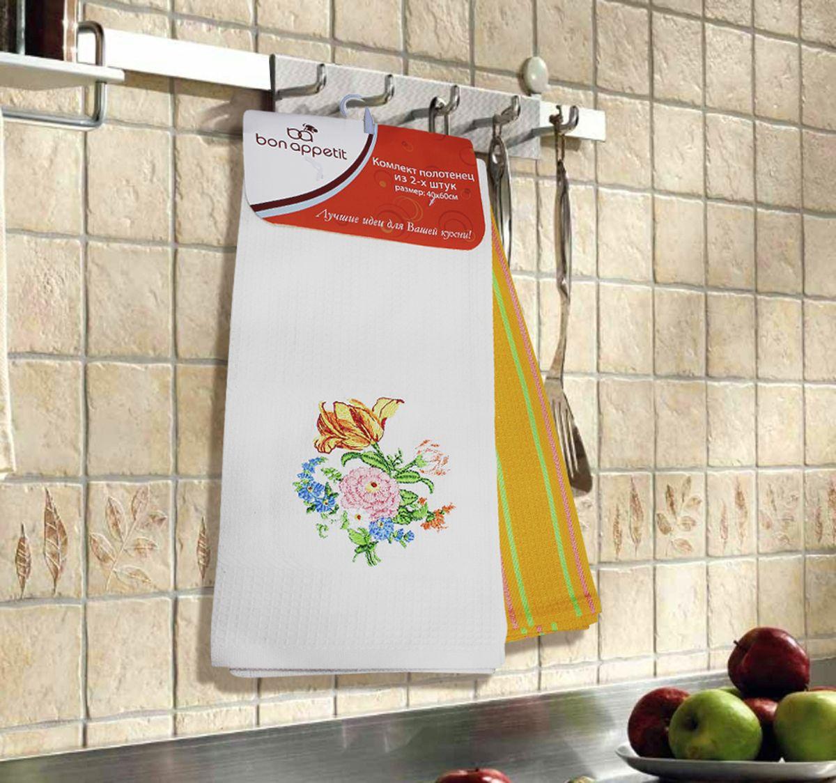 Набор кухонных полотенец Bon Appetit Peony, цвет: белый, желтый, 2 шт64863Кухонные Полотенца Bon Appetit - В помощь хозяйке на кухне!!! Кухонные Полотенца Bon Appetit идеально дополнят интерьер вашей кухни и создадут атмосферу уюта и комфорта. Полотенца выполнены из натурального 100% Хлопка, поэтому являются экологически чистыми. Качество материала гарантирует безопасность не только взрослых, но и самых маленьких членов семьи. Bon Appetit – Интерьер и Практичность Современной Кухни!