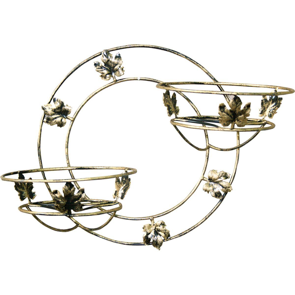 Подставка для цветов Фабрика ковки, настенная, на 2 цветка, цвет: черный, золотистый. 15-11215-112Кованная подставка станет прекрасным украшением любого интерьера. Подставка выполнена из металлических прутьев, цветом черное с золотым. Подставка декорирована кольцами и кленовыми листиками, предназначена для двух цветков. Корзинки при этом размещаются на разных уровнях, что позволяет создавать удивительные цветочные композиции