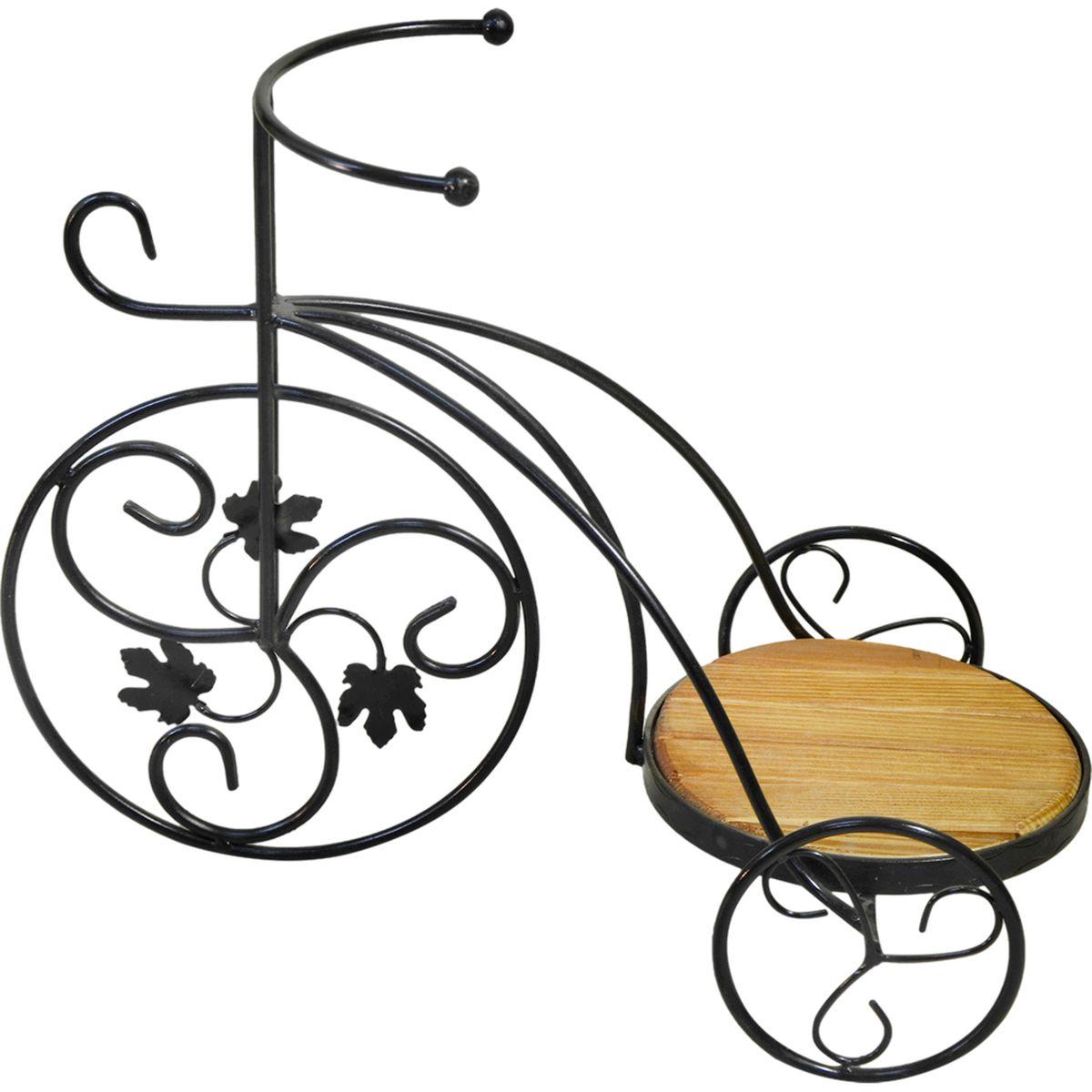Подставка для цветов Фабрика ковки Велосипед, на 1 цветок, цвет: черный, коричневый59-411Оригинальная подставка предназначена для размещения одного цветка. Карскас изготовлен из металла, на котором располагается подставка из дерева. Роль ножек исполняют изогнутые прутки, которые сплетаются в форму, повторяющую форму велосипеда, обеспечивая устойчивое расположение цветков. Подставка станет прекрасным дизайнерским решением для украшения дома.