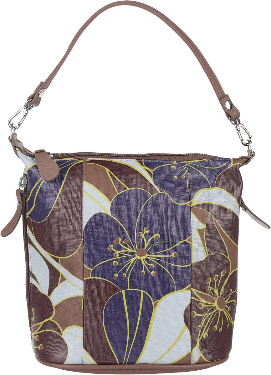 Сумка женская Esse Лада, цвет: коричневый, фиолетовый, светло-серый. GLAD2U-00ML09-FH013O-K100GLAD2U-00ML09-FH013O-K100Стильная женская сумка Esse Лада изготовлена из натуральной кожи и оформлена цветочным принтом. Изделие имеет одно основное отделение, внутри которого расположен прорезной карман на застежке-молнии. Закрывается отделение на застежку-молнию. Снаружи, по бокам располагаются прорезные карманы на застежках-молниях. Сумка оснащена съемной ручкой и съемным плечевым ремнем. Модная сумка внесет элегантные нотки в ваш образ и подчеркнет ваше отменное чувство стиля.