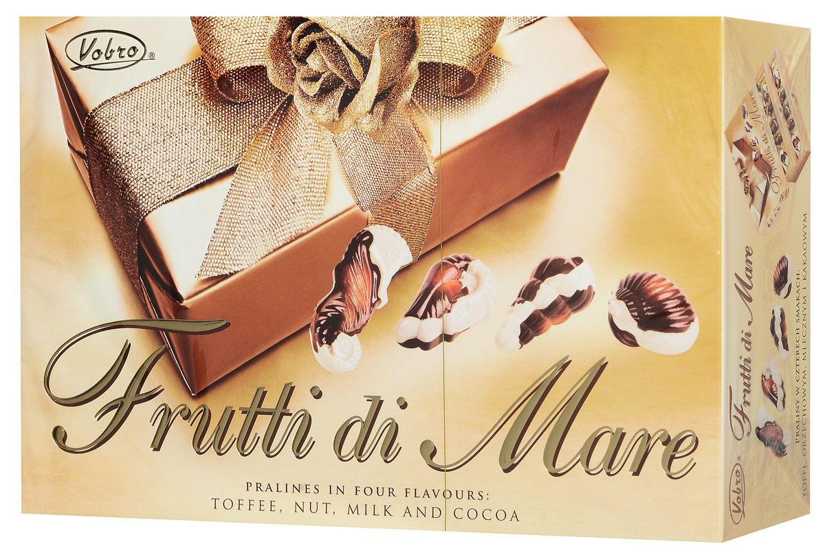 Vobro Frutti di Mare набор шоколадных конфет в виде морских ракушек, 350 г13863Vobro Frutti di Mare - шоколадные конфеты из белого и молочного шоколада с кремовой начинкой с ореховым, молочным вкусом, а также вкусами какао и тоффи станут прекрасным дополнением к любому чаепитию и отличным подарком для друзей и близких.