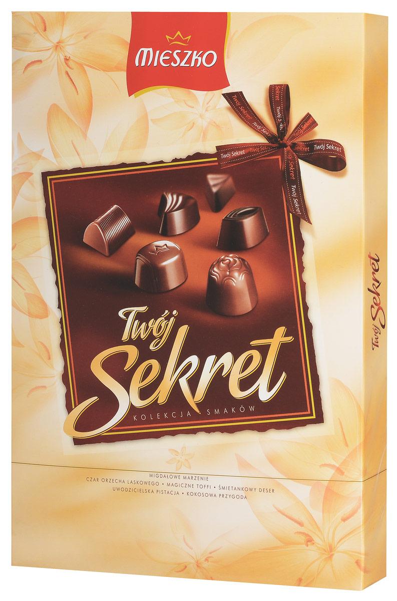 Mieszko Твой Секрет набор шоколадных конфет, 162 г11275Mieszko Твой Секрет - шоколадные конфеты ассорти с начинкой в десертном и молочном шоколаде прекрасно подойдут в качестве сладкого презента и безусловно украсят любое чаепитие.
