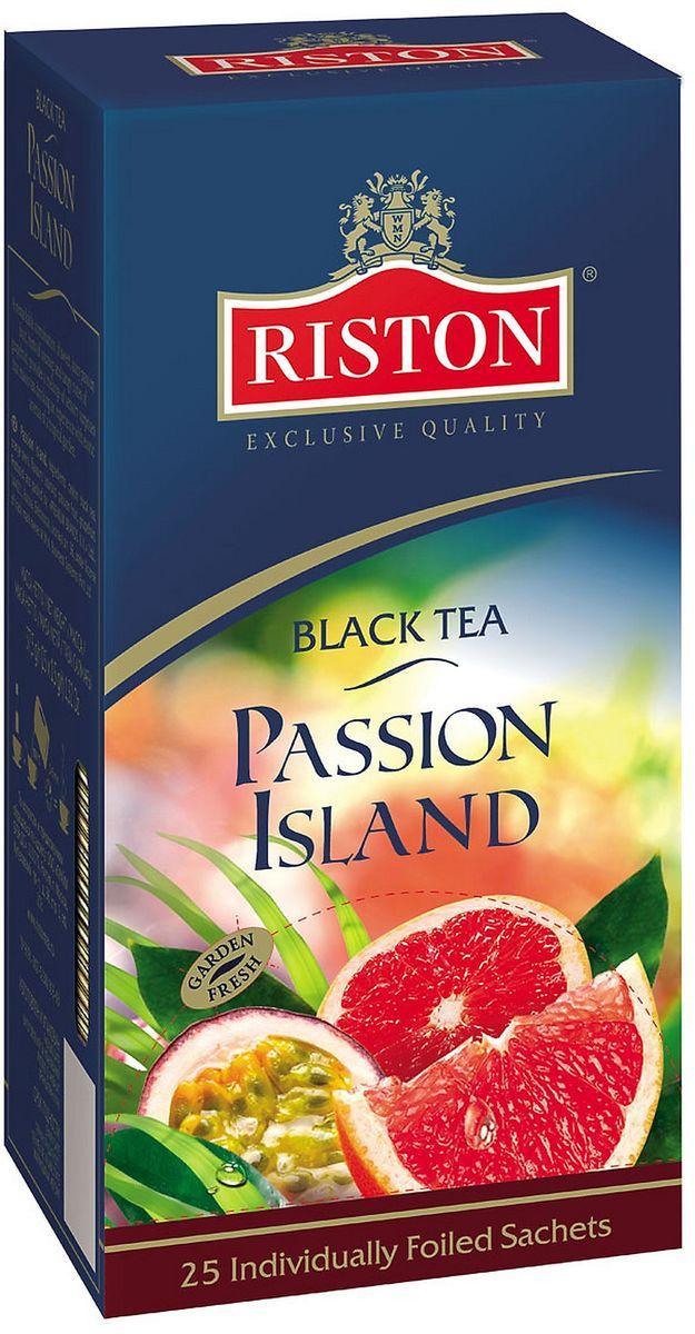 Riston Остров Наслаждений черный чай в пакетиках, 25 шт4792156010533Яркое сочетание соблазнительной маракуйи, нежных оттенков соусепа и освежающих ноток грейпфрута в чае Riston Остров Наслаждений наполнит атмосферу чаепития экзотическими ароматами цветущего тропического сада.