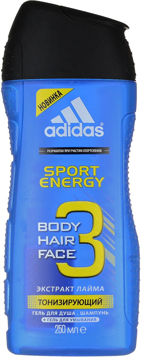 "Adidas Гель для душа, шампунь и гель для умывания ""Body-Hair-Face Sport Energy"", мужской, 250 мл 3400107310/3614221131282"