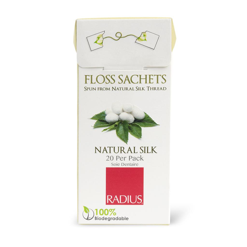 Radius, Натуральная шелковая зубная нить/Natural silk Floss, 20 пакетиков