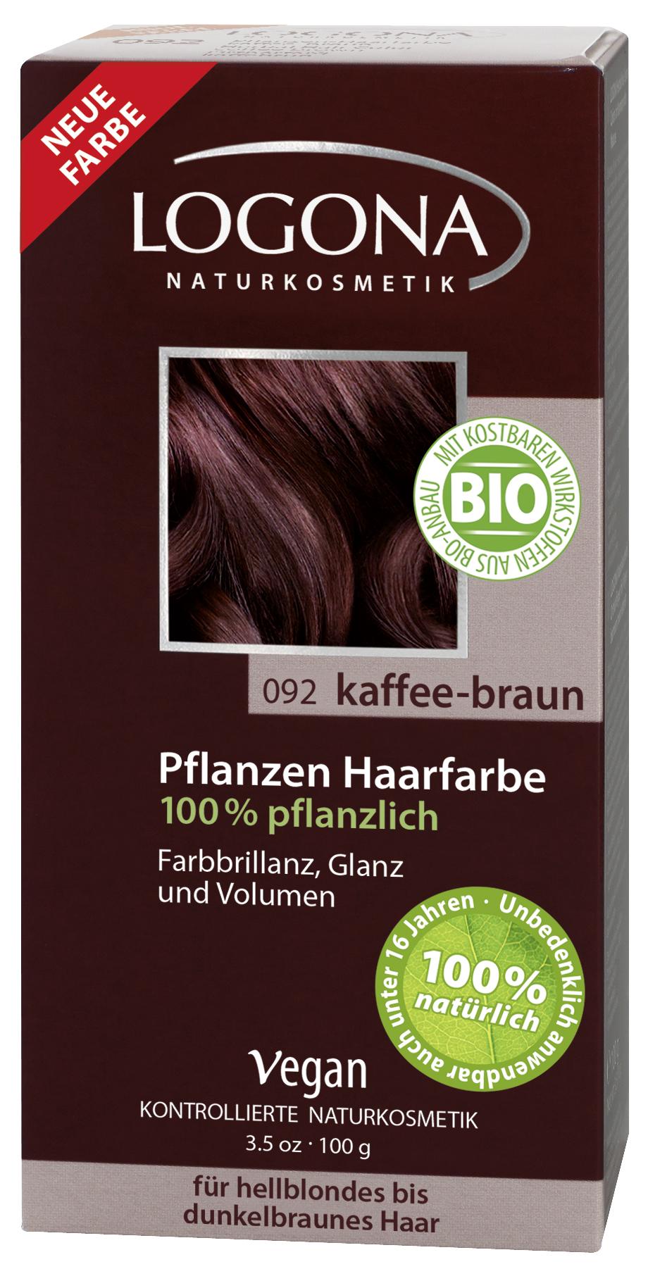 Logona растительная краска для волос 092 «Кофейно-коричневый» 100 гр01113Оттенок «Кофейно-коричневый» подходит для волос от светлых до темно-каштановых. Растительные краски для волос Logona действуют бережно и дают длительный эффект. Состав из хны и других красящих растений, а также веществ растительного происхождения для ухода за волосами естественным образом укрепляют волосы и придают им больше объема и яркости.