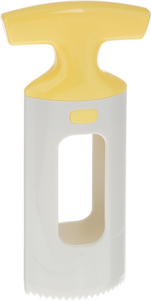 Приспособление для нарезки манго Tescoma Handy, цвет: белый, желтый115510Приспособление для нарезки манго Tescoma Handy изготовлено из прочного пищевого пластика. Изделие замечательно для простого отделения косточки манго от мякоти, подходит для малых и больших фруктов. Можно мыть в посудомоечной машине.