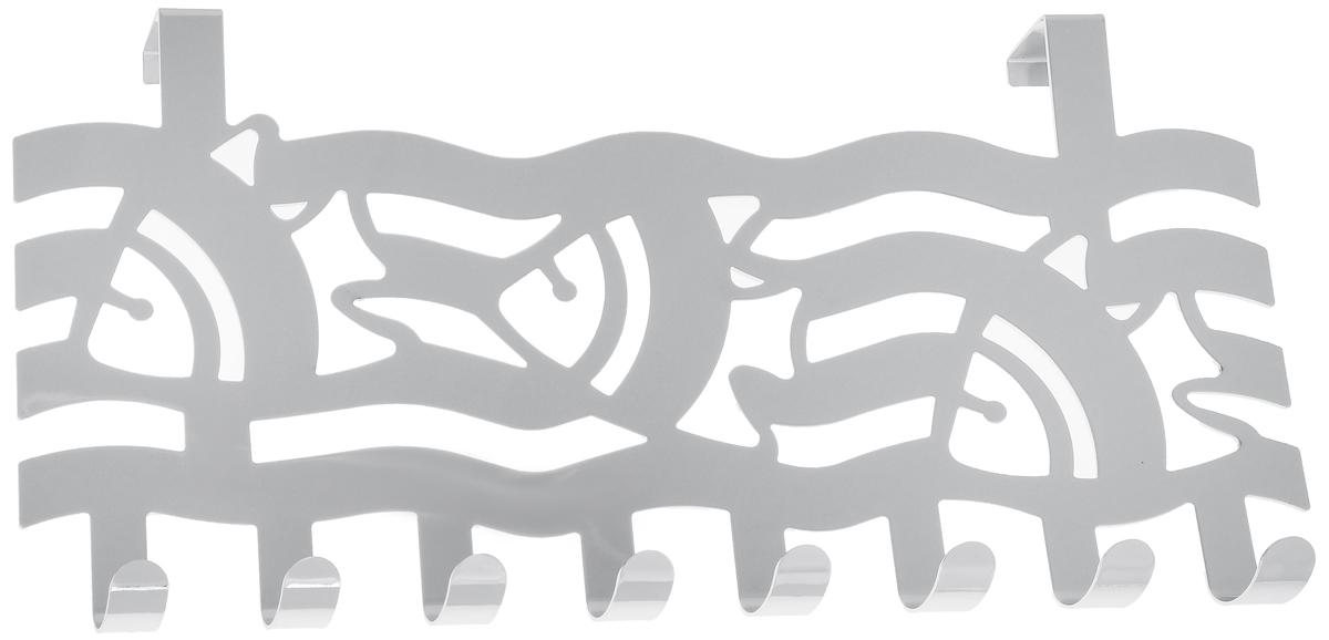 Вешалка на дверь Axentia Волны с рыбками, 8 крючков, 40 х 4,9 х 22 см115914_волны с рыбкамиВешалка Axentia Волны с рыбками, выполненная из высококачественной хромированной стали, устойчивой к коррозии. Подойдет для дверцы различных шкафов, тумб, сервантов, комодов, в ванной, прихожей или гостиной. Крепиться как на внутреннюю, так и на внешнюю сторону. Количество крючков: 8 шт. Ширина крепления: 2 см.