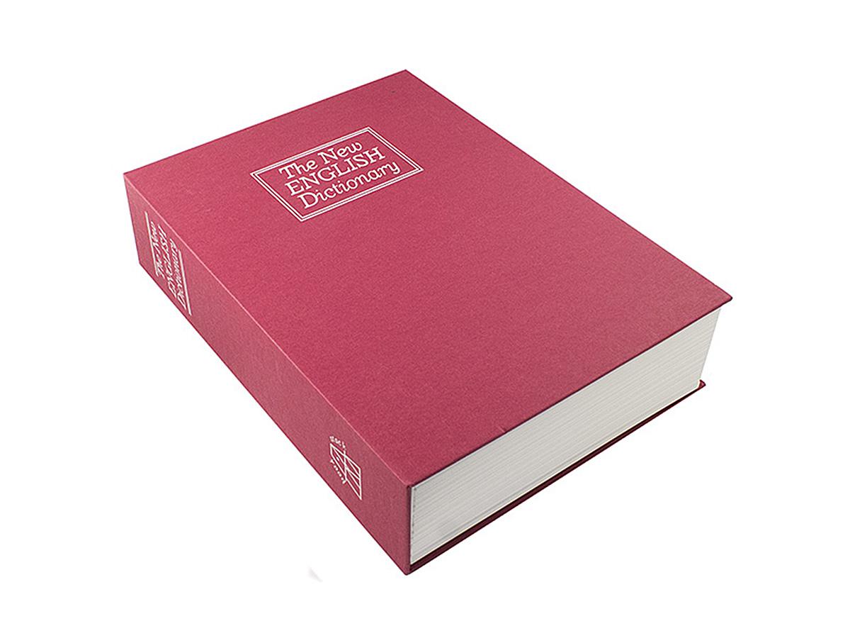 Книга-сейф Эврика Английский словарь, цвет: красный, 26,5 х 20 х 7 смFS-91909Книга-сейф Эврика Английский словарь - точная имитация книги. Будучи поставленным накнижную полку, он ловко затеряется среди настоящей литературы, сохранив в тайне вашисекреты или сбережения. В оформлении применено тиснение серебристой фольгой. Внутрипластикового корпуса находится металлическое хранилище с надёжным замком, к которомуприлагается комплект из двух ключей. Рекомендуем хранить запасной ключ отдельно, на случай утраты основного.