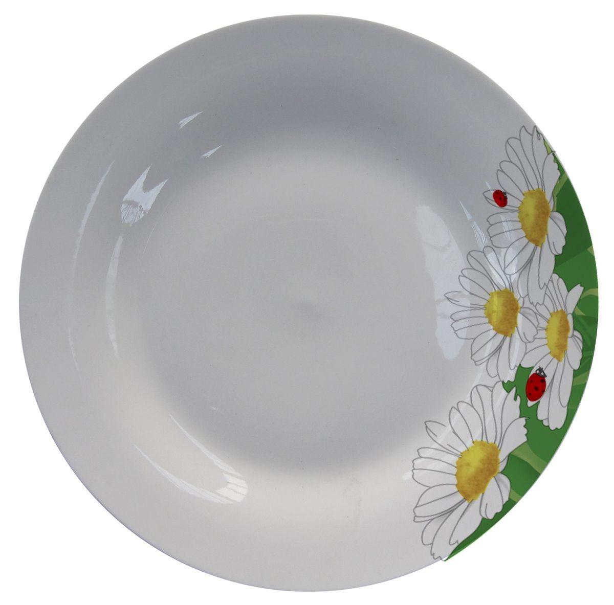 Тарелка МФК-профит Ромашки, диаметр 18 смVT-1520(SR)Тарелка МФК-профит, изготовленная из стеклокерамики, украшена ярким рисунком. Изящный дизайн придется по вкусу и ценителям классики, и тем, кто предпочитает утонченность.Такая тарелка идеально подойдет для сервировки стола и станет отличным подарком к любому празднику.
