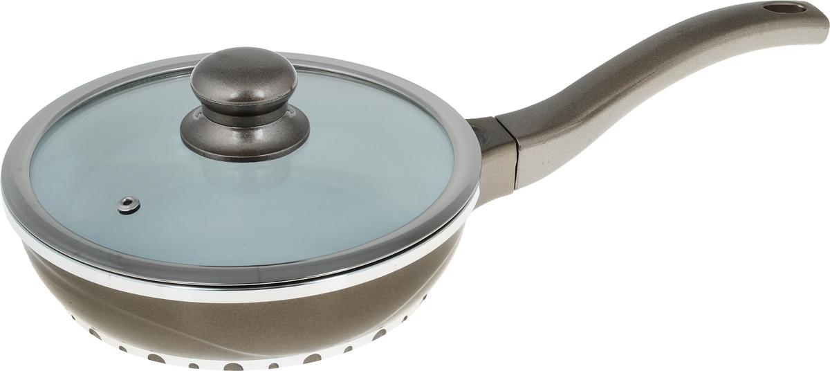 Сковорода Rainstahl с крышкой, с керамическим покрытием, цвет: светло-коричневый. Диаметр 20 см7950RS_светло-коричневыйСковорода Rainstahl изготовлена из литого алюминия с антипригарным керамическим покрытием. Благодаря керамическому покрытию пища не пригорает и не прилипает к поверхности сковороды, что позволяет готовить с минимальным количеством масла. Кроме того, такое покрытие абсолютно безопасно для здоровья человека и окружающей среды. Пища в такой сковороде нагревается быстро и дольше держит тепло. Сковорода оснащена ручкой, выполненной из пластика. Такая ручка не нагревается в процессе готовки и обеспечивает надежный хват. Крышка изготовлена из жаропрочного стекла, оснащена ручкой, отверстием для выпуска пара и металлическим ободом. Благодаря такой крышке можно следить за приготовлением пищи без потери тепла. Подходит для газовых, электрических, стеклокерамических, галогеновых и индукционных плит. Можно мыть в посудомоечной машине. Высота стенки сковороды: 5,5 см. Длина ручки: 17 см.