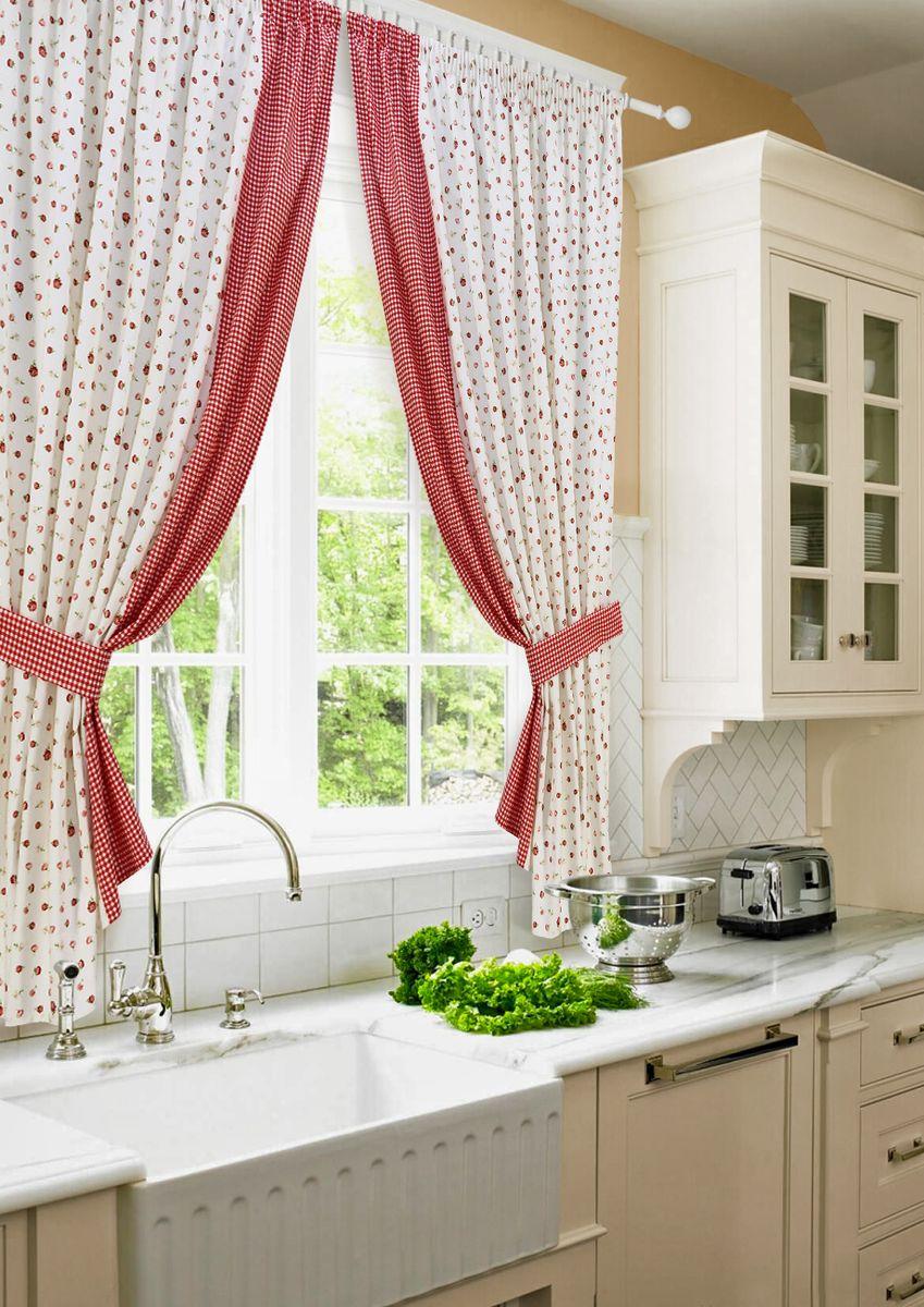 Комплект штор для кухни KauffOrt Лилу, на ленте, высота 175 см. 31201151753120115175Роскошный комплект Kauffort Лилу состоит из двух штор и двух подхватов. Шторы изготовлены из полотна с цветочным рисунком. Для придания изящного внешнего вида шторы присбориваются с помощью подхватов. Шторы и тюль оснащены шторной лентой для красивой сборки.