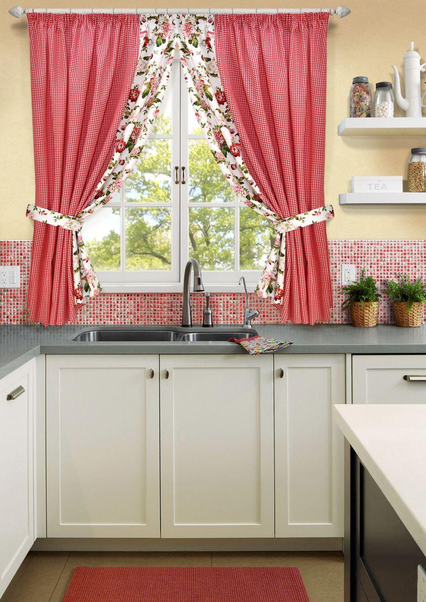 Комплект штор для кухни KauffOrt Лилу, на ленте, высота 175 см. 31202151753120215175Роскошный комплект Kauffort Лилу состоит из двух штор и двух подхватов. Шторы изготовлены из полотна с клетчатым рисунком. Для придания изящного внешнего вида шторы присбориваются с помощью подхватов. Шторы и тюль оснащены шторной лентой для красивой сборки.