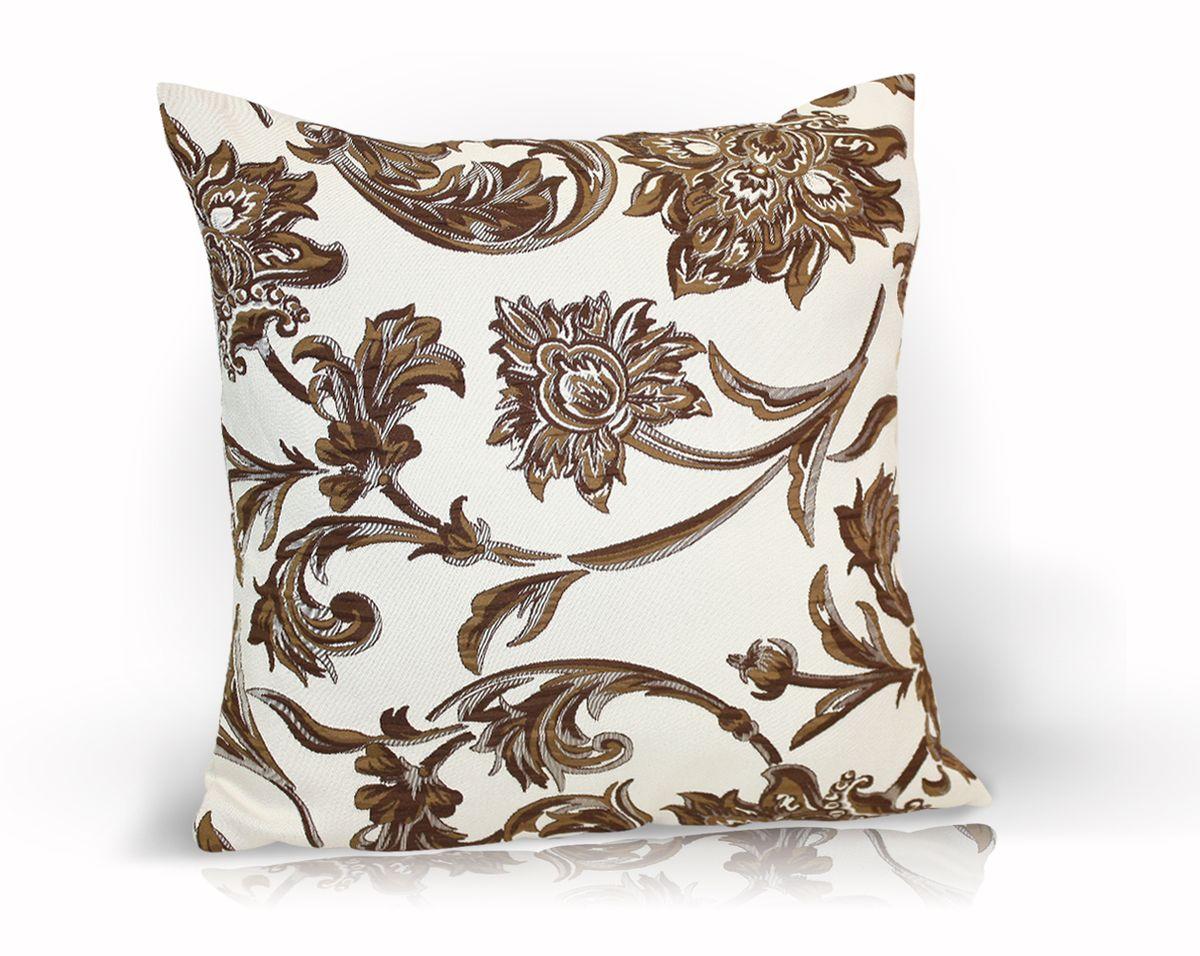 Подушка декоративная KauffOrt Руан, цвет: коричневый, 40 x 40 смUP210DFДекоративная подушка Руан прекрасно дополнит интерьер спальни или гостиной. Чехол подушки выполнен из двухстороннего жаккарда. Внутри находится мягкий наполнитель. Чехол легко снимается благодаря потайной молнии.