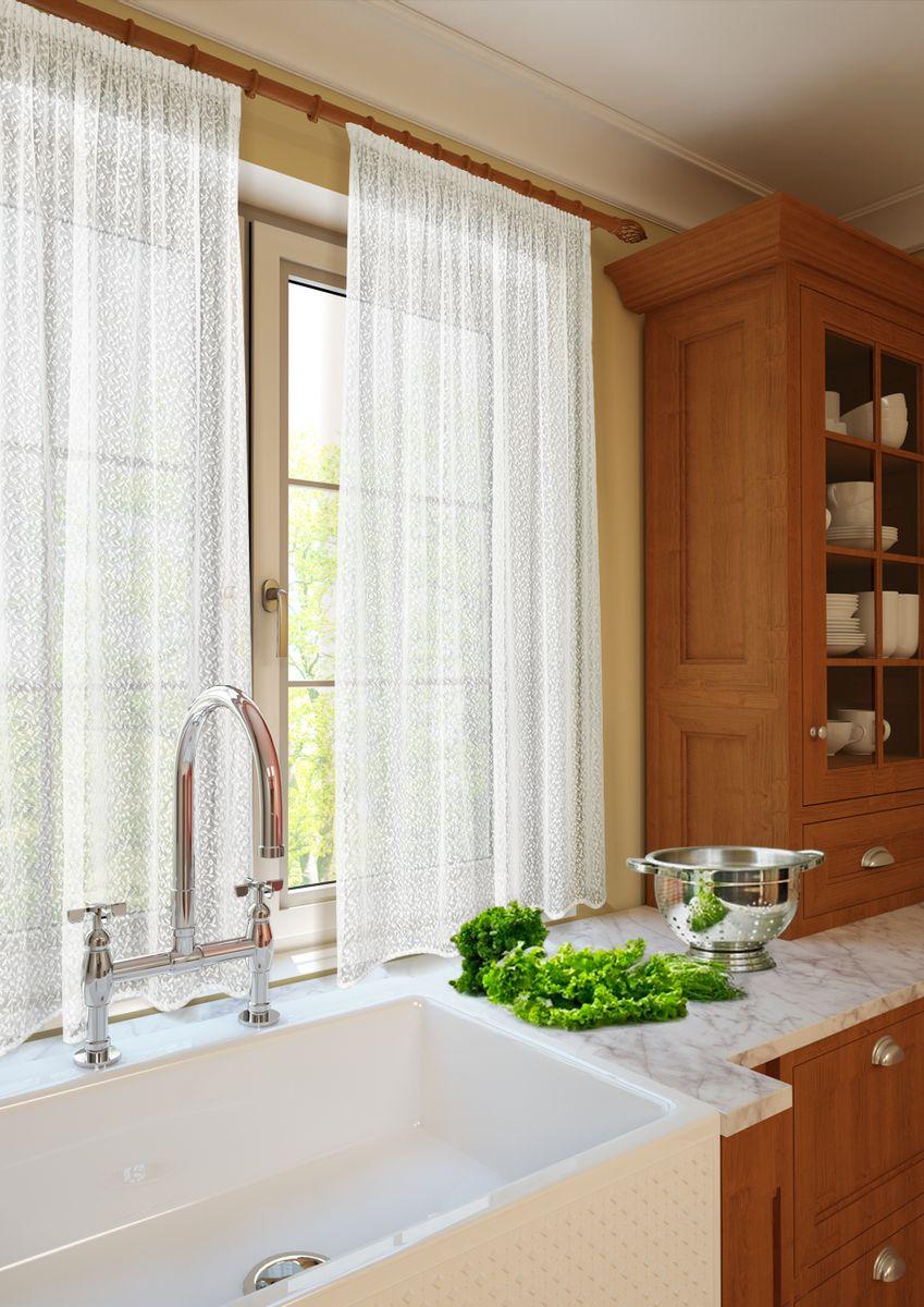 Комплект штор для кухни KauffOrt Монро, на ленте, высота 165 см. 3123232115S03301004Комплектация: 1 Тюль с фестоном. Материал: Кружевная сетка. Состав: 100% Полиэстер. Цвет: шампань. Применение: кухня, дача.