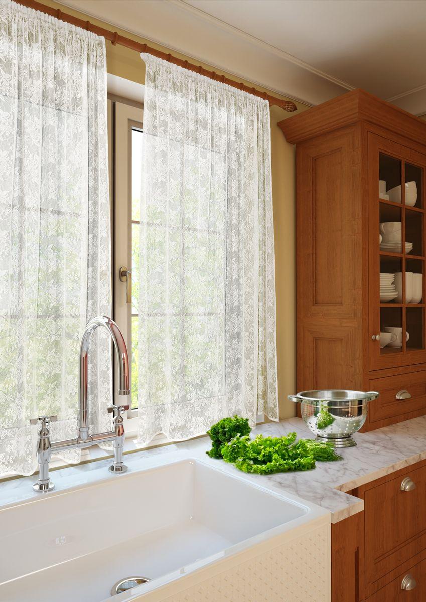 Комплект штор для кухни KauffOrt Монро, на ленте, высота 165 см. 31232321203123232120Роскошный комплект Kauffort Монро состоит из двух кружевных штор. Изделия оснащены шторной лентой для красивой сборки.