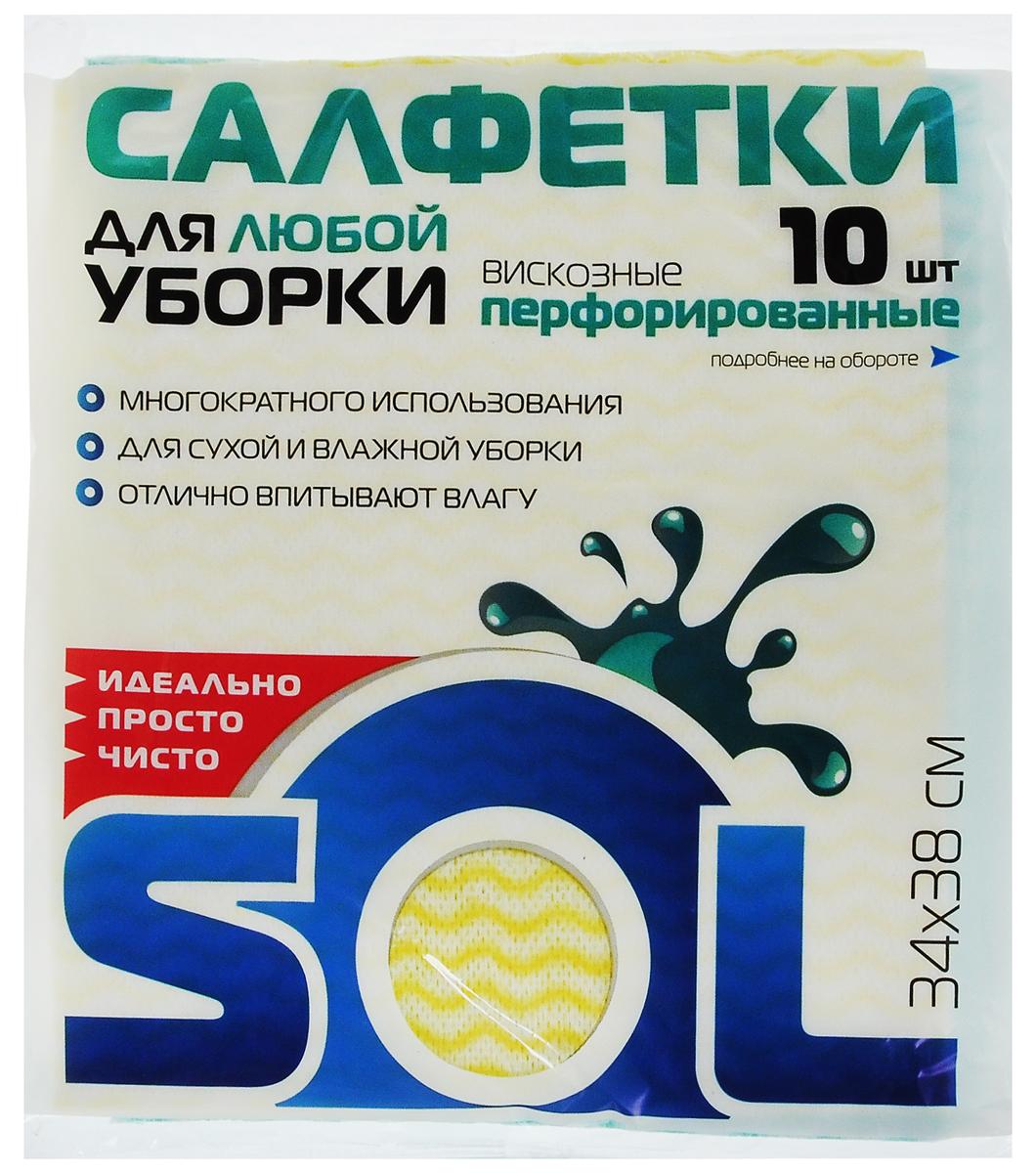 Салфетка для уборки Sol из вискозы, перфорированная, цвет: желтый, зеленый, 34 x 38 см, 10 шт10043Перфорированные салфетки для уборки Sol, выполненные из вискозы и полиэстера, предназначены для уборки и могут применяться с различными моющими средствами. Эффективно впитывают жидкость. Мягкие и прочные, легко отжимаются и быстро сохнут. Рекомендации по уходу: Для обеспечения гигиеничности уборки после применения прополоскать в теплой воде. Для продления срока службы не применять машинную стирку, не гладить и не кипятить. Комплектация: 10 салфеток. Размер салфетки: 34 х 38 см.