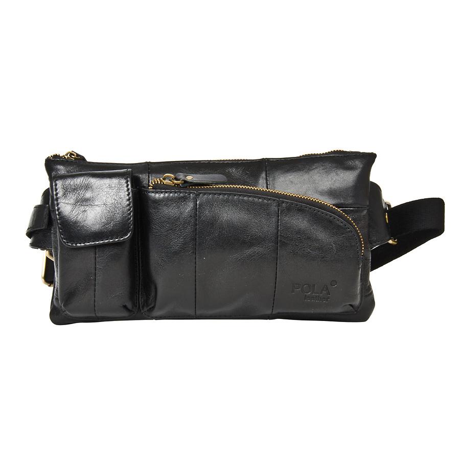 Сумка на пояс мужская Pola, цвет: черный. 0243BP-001 BKКожаная мужская сумка Pola для ношения на поясе. Сумка состоит из одного отделения на молнии. Внутри - один карман на молнии и два открытых кармана. Снаружи - дополнительный карман на молнии сзади сумки и два накладных кармана спереди сумки. Пояс регулируется, максимальный объем 140 см.