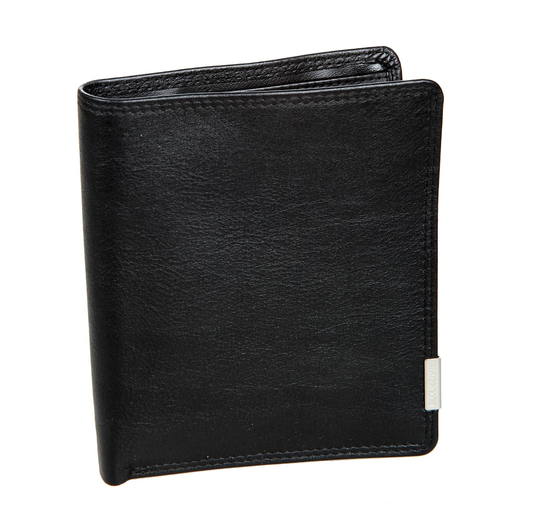 Портмоне мужское Bodenschatz, цвет: черный. 8-6908-690 blackПортмоне мужское Bodenschatz выполнено из натуральной кожи. Модель раскладывается пополам, внутри два отдела для купюр, в первом предусмотрен потайной карман для крупных купюр. Отделение для монет закрывается клапаном на кнопку. Имеются три кармана для документов, четыре кармашка для пластиковых карт, один из них сетчатый, съемное отделение для документов. Дополнительно: мини ручка, пилочка для ногтей.