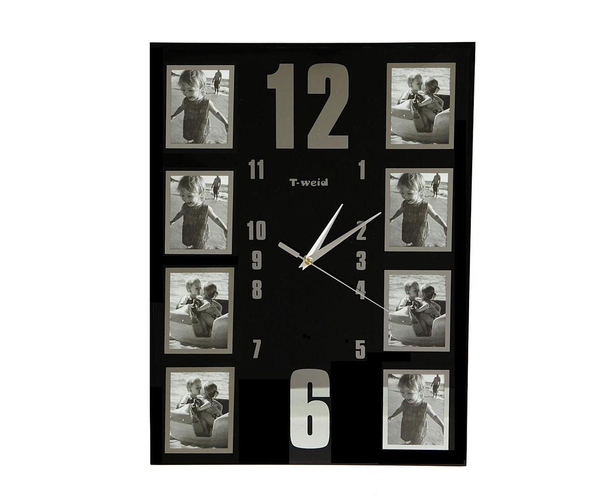 "Часы настенные ""T-Weid"", с фоторамками, цвет: черный, 34 х 45 х 5 см M 9084"