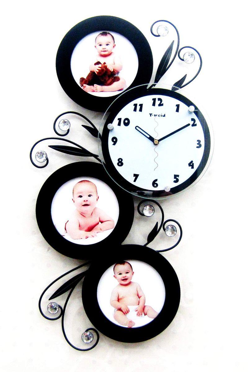 Часы настенные T-Weid, с фоторамками, цвет: черный, 32 х 59 х 5 см54 009303Настенные кварцевые часы с фоторамками - это прекрасный предмет декора, а также универсальный подарок практически по любому поводу. Корпус часов, выполнен из дерева с черным матовым покрытием, декорирован изображениями металлических веток с листьями и украшен стразами, так же оформлен тремя круглыми фоторамками. Циферблат часов оснащен тремя фигурными стрелками: часовой, минутной и секундной. Циферблат и стрелки защищены прочным стеклом, который крепится четырьмя металлическими крепежами к корпусу. На задней стенке часов расположена металлическая петелька для подвешивания и блок с часовым механизмом. Часы с фоторамками прекрасно впишутся в любой интерьер. В зависимости оттого, что вы поместите в рамки, будет меняться и стиль часов. Тип механизма: плавающий, бесшумный. Рекомендуется докупить батарейку типа АА (не входит в комплект). для 3 фото 13 х 13 см.