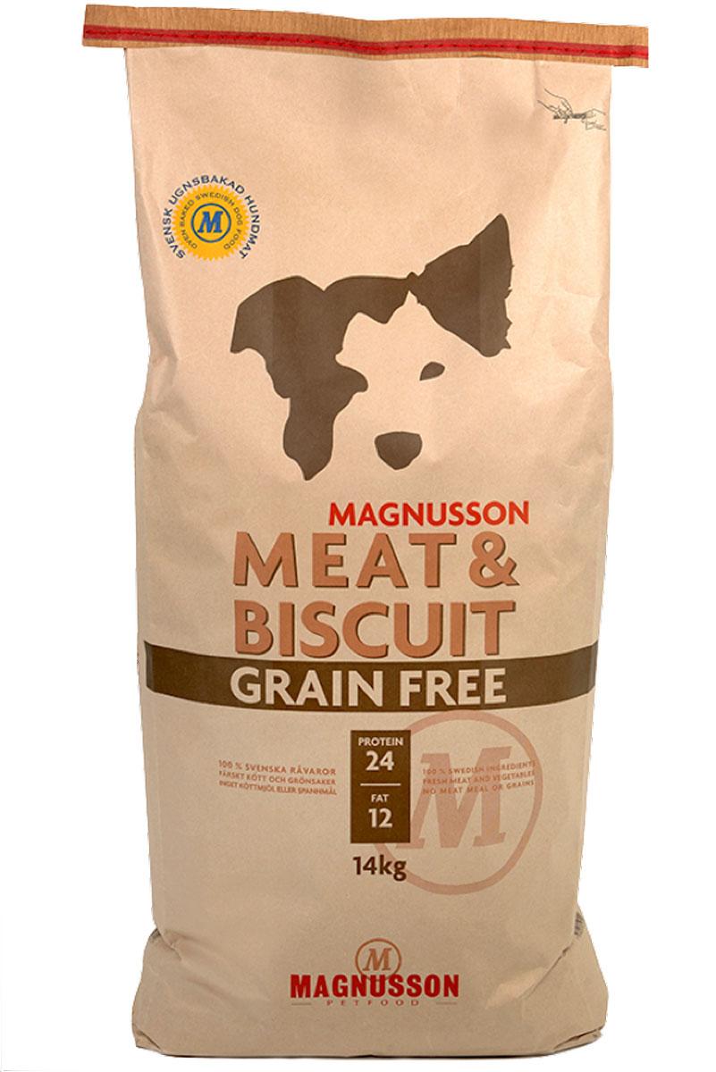 Корм сухой Magnusson Grain Free, для взрослых собак с нормальным уровнем активности, беззерновой, 14 кг0120710Полноценное, сбалансированное, богатое по составу питание, в котором нет злаков. ОСНОВАИсточником животного белка является филейная часть говядины (44% свежего мяса) без добавления мясной, рыбной, куриной муки или субпродуктов. В составе Грэйн Фри есть свежие куриные яйца, как источник всех незаменимых аминокислот и свежая морковь, которая является отличным источником витамина А, регулирует углеводный обмен и оказывает положительное воздействие на работу пищеварительной системы вашей собаки.Источники углеводов – картофель, который улучшает обмен веществ, а также богат минеральными веществами, благотворно влияющими на пищеварительную систему и горох, который является уникальным источником углеводов, улучшает моторику кишечника.Черника, так же входящая в состав Грэйн Фри, богата антиоксидантами, витаминами А, К и С, фосфором, кальцием, калием и полезна для здоровья глаз и мозга собаки. А в ягодах брусники большое количество полезных витаминов.ВИТАМИНЫ И МИКРОЭЛЕМЕНТЫДневная норма витаминов и микроэлементов в достаточном количестве для здорового роста и развития Вашей собаки уже содержатся в корме Грэйн Фри.РЕКОМЕНДАЦИИКаждая собака индивидуальна, однако по нашему опыту мы может рекомендовать перейти на взрослый корм с 6-8-ми месяцев для маленьких и средних пород собак. Владельцы крупных пород собак обычно переводят с 8-10 месяцев, реже после года.Взрослым собакам корм можно давать как в сухом, так и размоченном виде. Не стоит заливать корм бульоном или молоком, лучше всего использовать тёплую воду так, чтобы она покрывала корм.Количество корма может варьироваться в зависимости от породы, темперамента, физической нагрузки, климата и других факторов.Вода является самым важным питательным веществом. Взрослая собака нуждается в 2-3 частях воды на одну часть сухого корма.