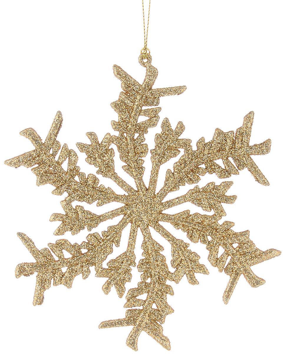 Украшение новогоднее подвесное Magic Time Снежинка, цвет: золотистый, 13,5 х 14 см38714Новогоднее подвесное украшение Magic Time Снежинка выполнено из пластика в виде снежинки и украшено глиттером. С помощью специальной петельки украшение можно повесить в любом понравившемся вам месте. Но, конечно, удачнее всего оно будет смотреться на праздничной елке. Елочная игрушка - символ Нового года. Она несет в себе волшебство и красоту праздника. Создайте в своем доме атмосферу веселья и радости, украшая новогоднюю елку нарядными игрушками, которые будут из года в год накапливать теплоту воспоминаний.
