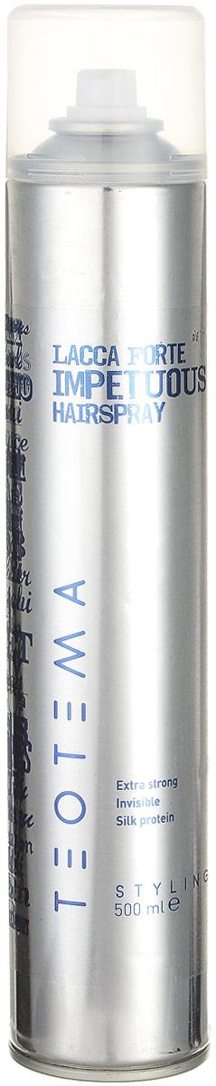 Teotema Лак сильной фиксации 500 млTEOST8Мелкодисперсный спрей обеспечивает фиксацию без утяжеления волос. Лак обеспечивает сильную, и одновременно подвижную фиксацию, придает блеск и сохраняет форму на длительное время. Идеален как для фиксации отдельных прядей, так и для закрепления всей прически. Легко вычесывается.
